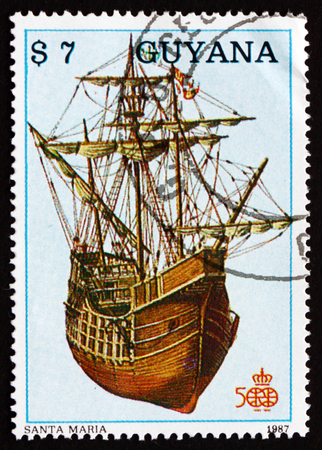 GUYANA - CIRCA 1988: a stamp printed in Guyana shows Santa Maria, Ship, Discovery of America, 500th Anniversary, circa 1988