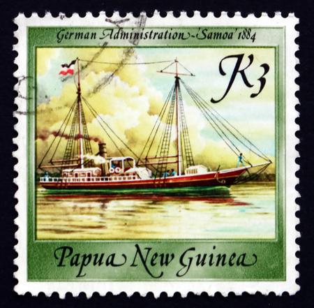 new guinea: PAPUA NUOVA GUINEA - CIRCA 1988: un francobollo stampato in Papua Nuova Guinea mostra Samoa, 1884, Nave, circa 1988