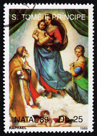 SAO TOME AND PRINIPE - CIRCA 1989: a stamp printed in Sao Tome and Principe shows Sistine Madonna, Painting by Raphael, Christmas, circa 1989
