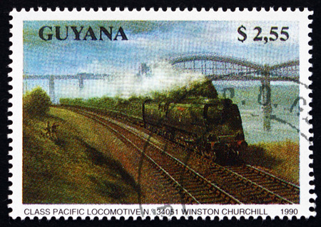 GUYANA - CIRCA 1990: a stamp printed in Guyana shows Class Pacific, 34051 Winston Churchill, Locomotive, circa 1990