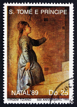 SAO TOME AND PRINIPE - CIRCA 1989: a stamp printed in Sao Tome and Principe shows Young Virgin Mary, Painting by Titian, Christmas, circa 1989