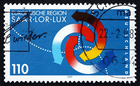 saar: GERMANY - CIRCA 1997: a stamp printed in the Germany shows Third Saar, Lorraine and Luxembourgh Summit, circa 1997