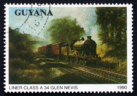GUYANA - CIRCA 1990: a stamp printed in Guyana shows Liner Class A34, Glen Nevis, Locomotive, circa 1990