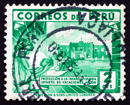 PERU - CIRCA 1938: a stamp printed in the Peru shows Children�s Holiday Center, Ancon, circa 1938