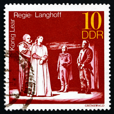 GDR - CIRCA 1973: a stamp printed in GDR shows King Lear, Staged by Wolfgang Langhoff, Great Theatrical Production, circa 1973