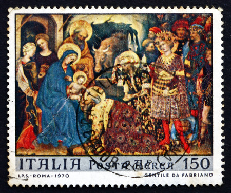 ITALY - CIRCA 1970: a stamp printed in the Italy shows Adoration of the Kings, Painting by Gentile da Fabriano, Christmas, circa 1970