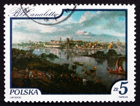 praga: POLAND - CIRCA 1984: a stamp printed in the Poland shows View of Warsaw from the Praga Bank, Painting by Bernardo Belotto Canaletto, Vistula River View, circa 1984