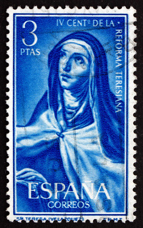 velazquez: SPAIN - CIRCA 1967: a stamp printed in the Spain shows St. Theresa, Painting by Velazquez, 4th Centenary of St. Theresa's Reform of the Carmelite Order, circa 1967 Editorial