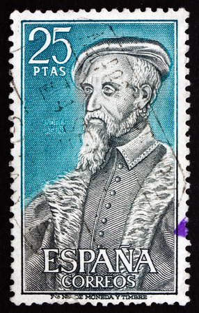 humanist: SPAIN - CIRCA 1967: a stamp printed in the Spain shows Andres Laguna de Segovia, 16th Century Physician, circa 1967 Editorial