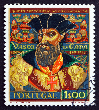 PORTUGAL - CIRCA 1969: a stamp printed in the Portugal shows Vasco da Gama, Navigator who Found Sea Route to India, circa 1969