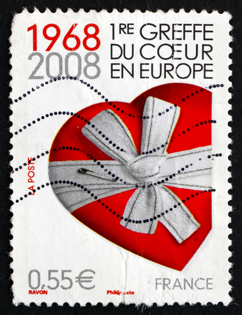 FRANCE - CIRCA 2008: a stamp printed in the France shows Heart Gift, 40th Anniversary of the First tHeart Transplant in Europe, circa 2008