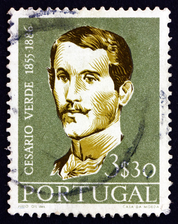 PORTUGAL - CIRCA 1957: a stamp printed in the Portugal shows Jose Joaquim Cesario Verde, Poet, circa 1957