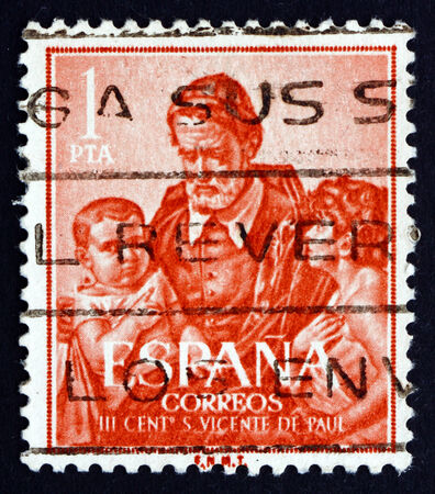 SPAIN - CIRCA 1960: a stamp printed in the Spain shows St. Vincent de Paul, Priest of the Catholic Church who Dedicated Himself to Serving the Poor, circa 1960