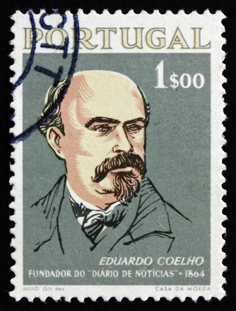 founder: PORTUGAL - CIRCA 1964: a stamp printed in the Portugal shows Eduardo Coelho, Typographer, Writer and Journalist, Founder of the Journal Daily News, circa 1964