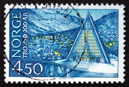NORWAY - CIRCA 1994: a stamp printed in the Norway shows Tromso Cathedral, Bicentenary of the Tromso Charter, circa 1978