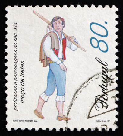 errand: PORTUGAL - CIRCA 1997: a stamp printed in the Portugal shows Errand Boy, 19th Century Profession, circa 1997