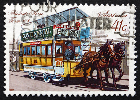 AUSTRALIA - CIRCA 1989: a stamp printed in the Australia shows Horse-drawn Tram, Adelaide, 1878, circa 1989