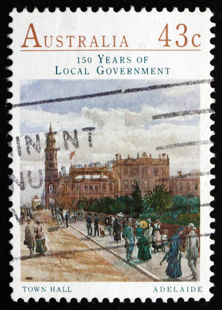 AUSTRALIA - CIRCA 1990: a stamp printed in the Australia shows Town Hall, Adelaide, 150th Anniversary of the Local Government in Australia, circa 1990