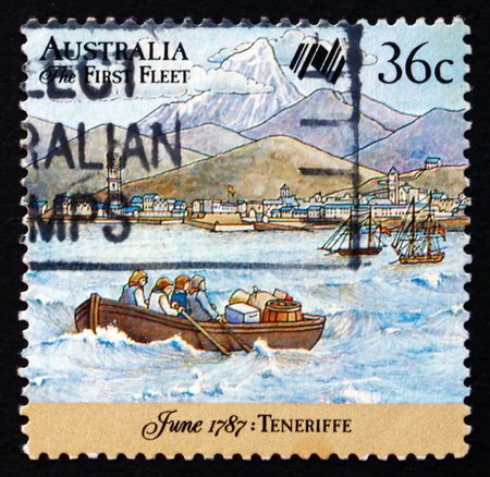 AUSTRALIA - CIRCA 1987: a stamp printed in the Australia shows First Fleet in Tenerife Harbor, Longboat Approaching Tenerife, The Canary Islands, Australia Bicentennial, circa 1987