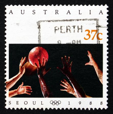 summer olympics: AUSTRALIA - CIRCA 1988: a stamp printed in the Australia shows Basketball, 1988 Summer Olympics, Seoul, circa 1988