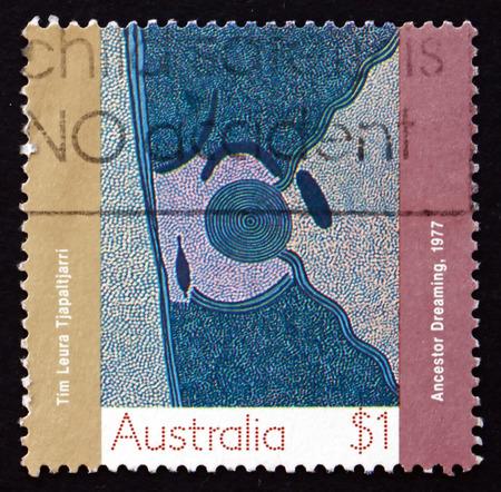przodek: AUSTRALIA - CIRCA 1988: a stamp printed in the Australia shows Ancestor Dreaming, Aboriginal Painting from Papunya Settlement, circa 1988