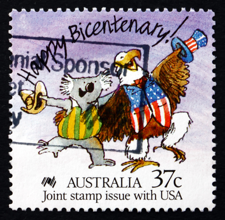 AUSTRALIA - CIRCA 1988: a stamp printed in the Australia shows Caricature of Australian Koala and American Bald Eagle, Australian Bicentennial, circa 1988