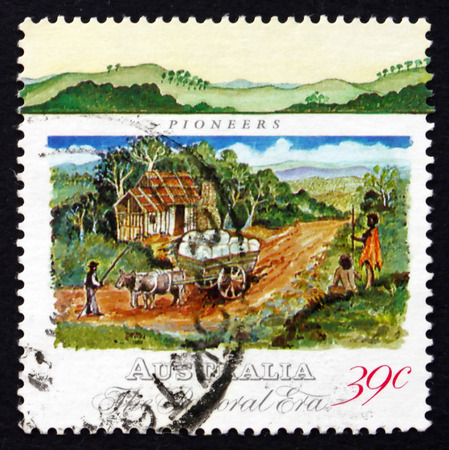 AUSTRALIA - CIRCA 1989: a stamp printed in the Australia shows Pioneer�s Hut and Wool Bales in Dray, Pastoral Era of Colonial Australia, circa 1989