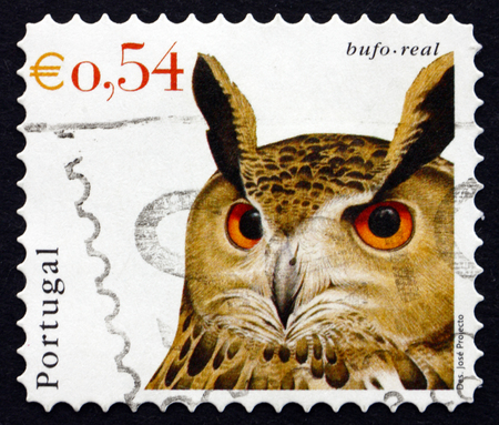 PORTUGAL - CIRCA 2002: a stamp printed in the Portugal shows Eurasian Eagle Owl, Bubo Bubo, Bird, circa 2002