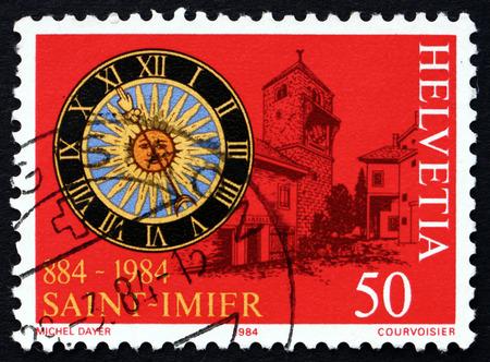 helvetia: SWITZERLAND - CIRCA 1984: a stamp printed in the Switzerland shows View of Saint Imier, 1100th Anniversary, circa 1984