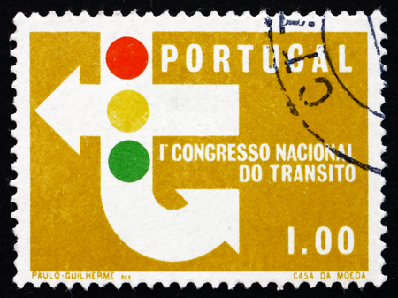 PORTUGAL - CIRCA 1965: a stamp printed in the Portugal shows Traffic Signs and Signals, 1st National Traffic Congress, Lisbon, circa 1965