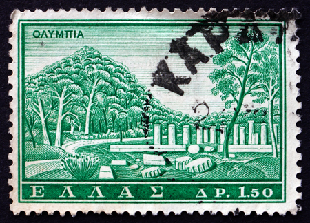 GREECE - CIRCA 1961: a stamp printed in the Greece shows Olympia, Sanctuary of Ancient Greece in Elis, Ancient Greek Monument, circa 1961
