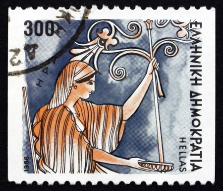 GREECE - CIRCA 1986: a stamp printed in the Greece shows Hera, Greek Goddess of Women and Marriage, Wife and One of Three Sisters of Zeus, Ancient Greek Religion, circa 1986
