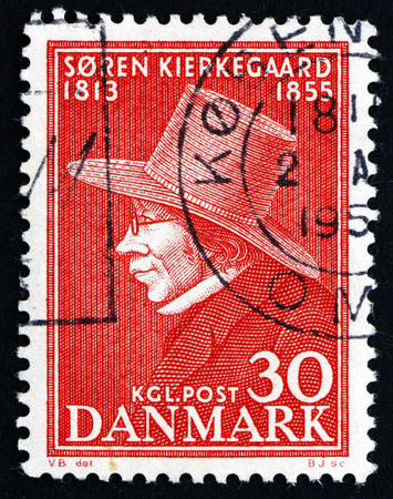 theologian: DENMARK - CIRCA 1955: a stamp printed in the Denmark shows Soren Kierkegaard, Philosopher and Theologian, circa 1955
