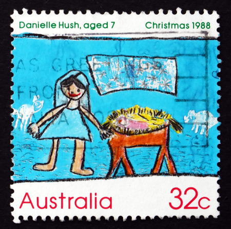 AUSTRALIA - CIRCA 1988: a stamp printed in the Australia shows Nativity Scene, by Danielle Hush, Children�s Design, Christmas, circa 1988