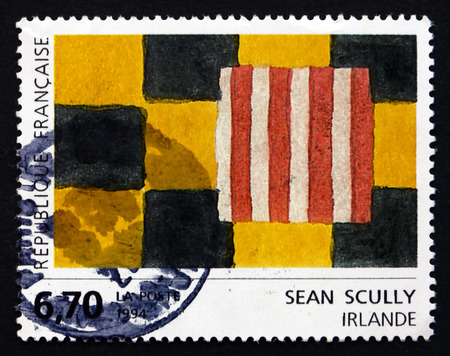 printmaker: FRANCE - CIRCA 1994: a stamp printed in the France shows Abstract Squares, Painting by Sean Scully, circa 1994