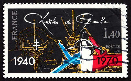 charles de gaulle: FRANCE - CIRCA 1980: a stamp printed in the France shows Charles de Gaulle, 40th Anniversary of De Gaulle�s Appeal of June 18, and 10th Anniversary of His Death, circa 1980