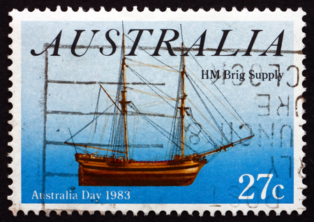hm: AUSTRALIA - CIRCA 1983: a stamp printed in the Australia shows HM Brig Supply, Sailing Ship, Australia Day, circa 1983
