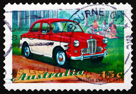 AUSTRALIA - CIRCA 1997: a stamp printed in the Australia shows Austin Lancer, Classic Car from 1958, circa 1997