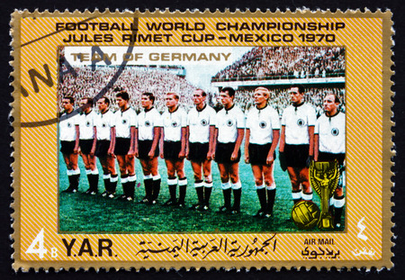 west of germany: YEMEN - CIRCA 1970: a stamp printed in the Yemen Arab Republic shows Team of West Germany, Football World Championship, Mexico, circa 1970