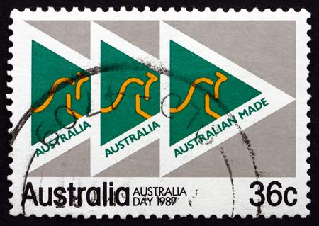 AUSTRALIA - CIRCA 1987: a stamp printed in the Australia shows Made in Australia Campaign Emblem, circa 1987