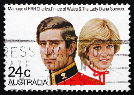 lady diana: AUSTRALIA - CIRCA 1985: a stamp printed in the Australia shows Prince Charles and Lady Diana, Royal Wedding, circa 1985