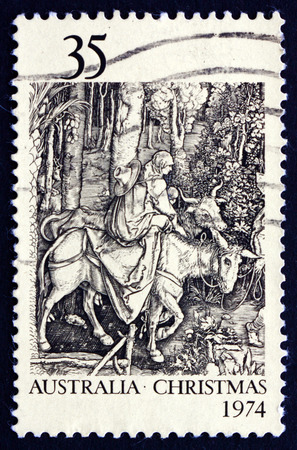 durer: AUSTRALIA - CIRCA 1974: a stamp printed in the Australia shows Flight into Egypt, by Albrecht Durer, Christmas, circa 1974 Editorial