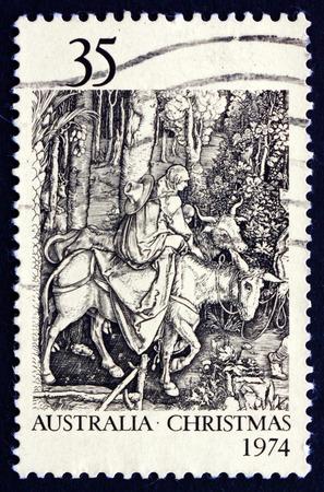 durer: AUSTRALIA - CIRCA 1974: un francobollo stampato in Australia mostra Fuga in Egitto, da Albrecht Durer, Natale, circa 1974