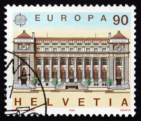 helvetia: SWITZERLAND - CIRCA 1990: a stamp printed in the Switzerland shows Post Office, Geneva, circa 1990 Editorial