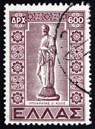GREECE - CIRCA 1947: a stamp printed in the Greece shows Statue of Hippocrates of Cos, Ancient Greek Physician, circa 1947
