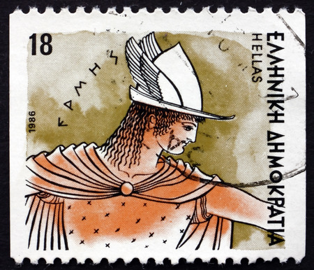 intercessor: GREECE - CIRCA 1986: a stamp printed in the Greece shows Hermes, Greek God of Transitions and Boundaries, Messenger of Gods, Ancient Greek Religion, circa 1986