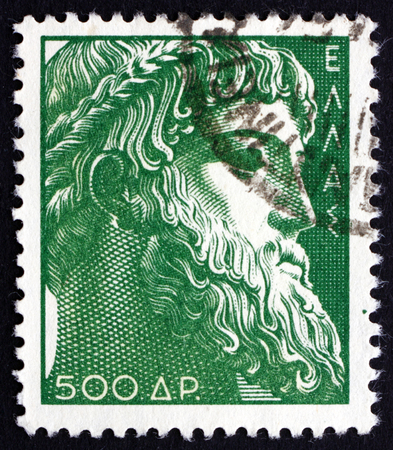 GREECE - CIRCA 1954: a stamp printed in the Greece shows Zeus of Istiaea, God of Sky and Thunder, King of the Gods, Ancient Greek Religion, circa 1954