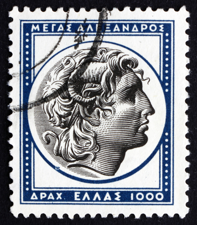GREECE - CIRCA 1954: a stamp printed in the Greece shows Alexander the Great, King of the Greek Kingdom of Macedon, circa 1954