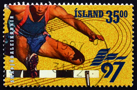 ICELAND - CIRCA 1997: a stamp printed in the Iceland shows Hurdles, European games, circa 1997