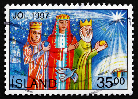 ICELAND - CIRCA 1997: a stamp printed in the Iceland shows Magi, Christmas, circa 1997